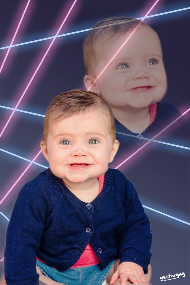 80s Laser Background Baby Portrait - Yesteryay